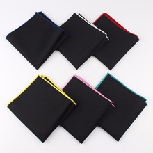 Men's Sunny Style Cotton Handkerchief Black Pocket Square Colorful Edge Hankies Towel Casual 23*23cm