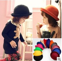 Retail Little girls fedora hat Dome cap Children dress hats Kids caps felt hats wool felting Bowler hat(China)