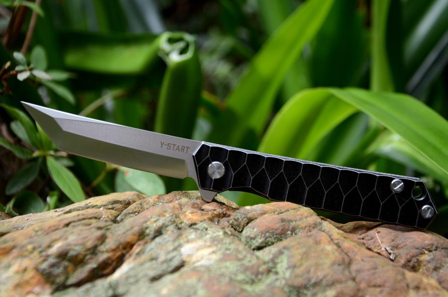 Y-START Flipper knife  440C blade titanium tanto knife TC4 handle outdoor camping hunting pocket knife EDC tools