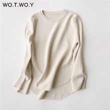 WOTWOY Long Sleeve Autumn Wool Pullovers Woman Cashmere Sweater All-Match Irregular Hem Chic Winter Jumper Women Knitted Tops