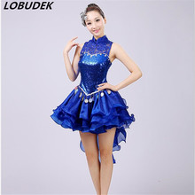 New sexy lace JAZZ Modern dance female stage costume Team Cheering squad party performance clothing Blue sequins one piece dress(China)