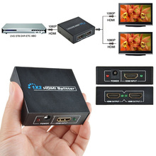 10pcs/lot 2 Port HDMI Splitter 3D Mini Switcher 1x2 1 in 2 out HDMI Distributor For HDTV PS3 XBOX