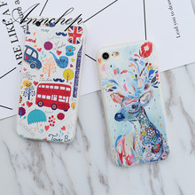 Love Travel Bus London Paris Iron Tower Oil Deer soft silicon Case For iPhone 6 7 Plus Cover For iphone 6S 6 Plus 5 5s Case