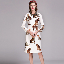 Pretty Casual Dress Classic Fashion 2016 Long Sleeve Cats Print Women Topshop Autumn Nail Drill Mid-Calf Casual Novelty Dress