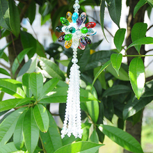 13.4 inch Rainbow Sunflower with White Tassel Car Rear View Mirror Pendant Prism Crystal Suncatcher Car Accessories Home Decor(China)