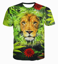 2016 New Fashion Top Design Women Men T Shirt 3D Print Creative Bushes Lion T-Shirt Summer Style Short Sleeve Crewneck Tops