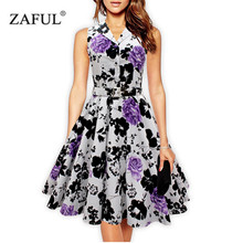 ZAFUL Cotton women 50s 60s retro vintage dress Rose Floral print Rockabilly Swing feminine vestidos Plus size Party Belts dress(China)