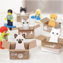 5 set/Lot  Cute cat small carton house sticky notes | cartoon N times posted | memo pad/post-it/school supplier