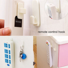 New 2Set(4Pcs) Self Adhesive Plastic Hooks Holder Remote Control Sticky Hook Hanger TV Air Conditioner Key Wall Storage(China)