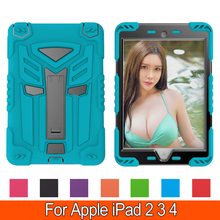 Shock Proof Case Dual Armor Body and Stand Kids Super Protection Cover with Robot Design for Apple iPad 2 3 4 9.7''