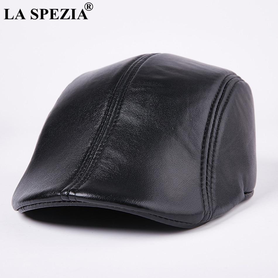 Características  boinas de cuero para hombres gorros planos negros de pico  de pato sombreros planos de lujo de marca italiana 786af09acc5