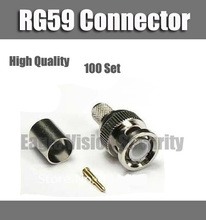 BNC male crimp plug for RG59 coaxial cable  RG59 BNC Connector 300PCS=100pcs Connector Body+100pcs Contact Pin+100pcs Ferrule