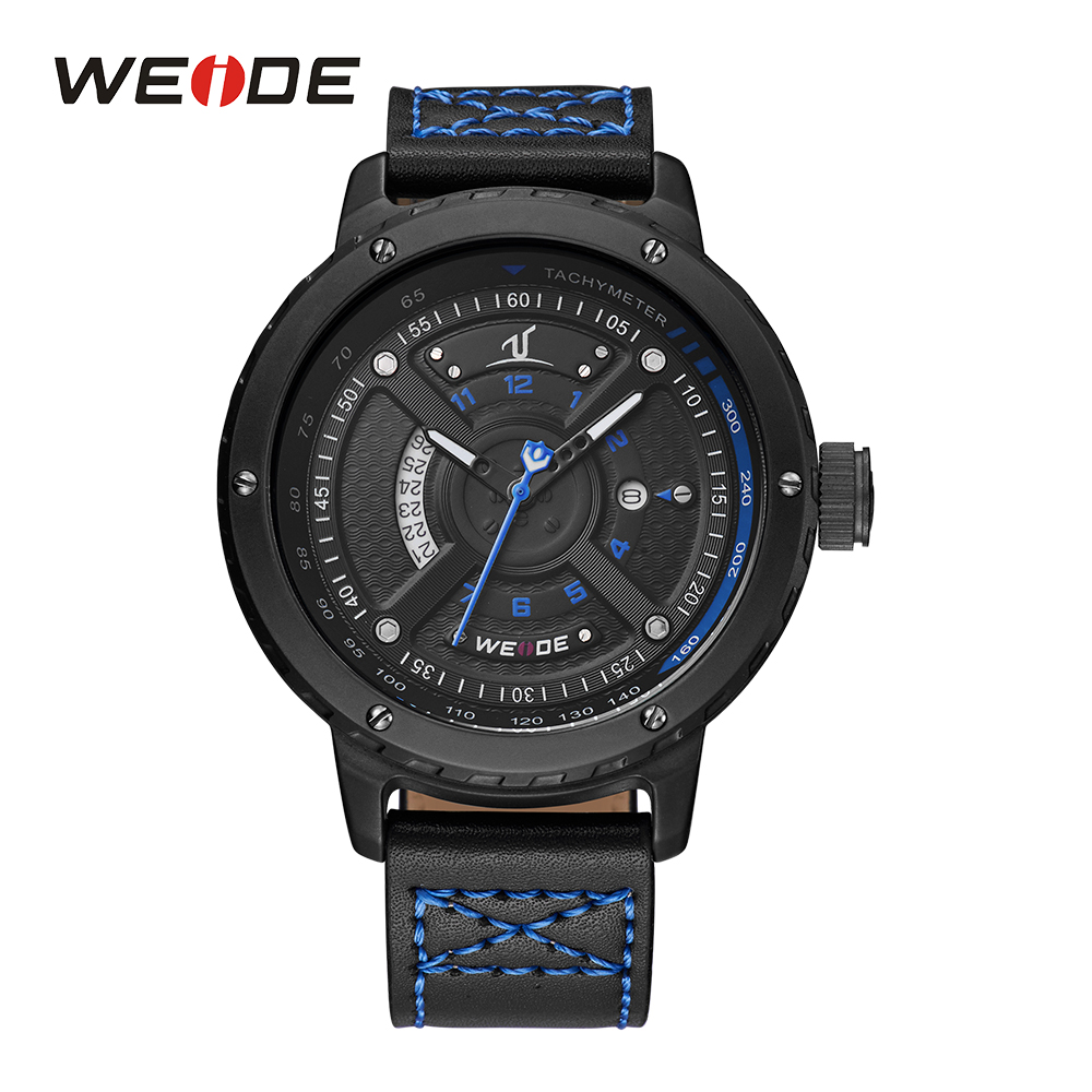 WEIDE Mens Watches Complete Calendar Quartz Movement Auto Date Leather Strap Buckle Analog Display Military Sport Wristwatches <br>