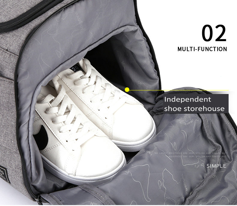 the main pocket of a duffle with a pair of trainers inside