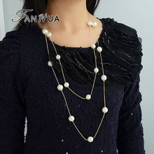 FANHUA New Multi-Layer Gold-Color Long Necklace Simulated Pearl Necklace Perlas Fashion Collier Perle Simulated pearl jewelry