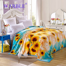 WARBLE Yellow Soft Blankets Flannel Kids Sunflower Blanket Single/Twin/Queen/full size Warm Bedsheet Sofa Throws
