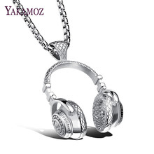 YAKAMOZ Fashion Music Headphone Pendants Men Necklace Hip Hop Stainless Steel Necklaces for Men Jewelry Personality Gift 3 Color