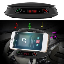 Smart Bluetooth Handsfree TF MP3 Music Play Car Phone Holder Sucker Type Car Center Console Smartphone Mount Holder Stand(China)