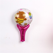 2pcs/lot Lovely cartoon sticks Foil balloon Globos, bear printed sticks mylar balloon toys for kid gifts(China)
