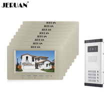 "JERUAN Wholesale New Home Apartment Intercom System 8 Monitors Wired 7"" Color HD Video Door Phone intercom System FREE SHIPPING(China)"