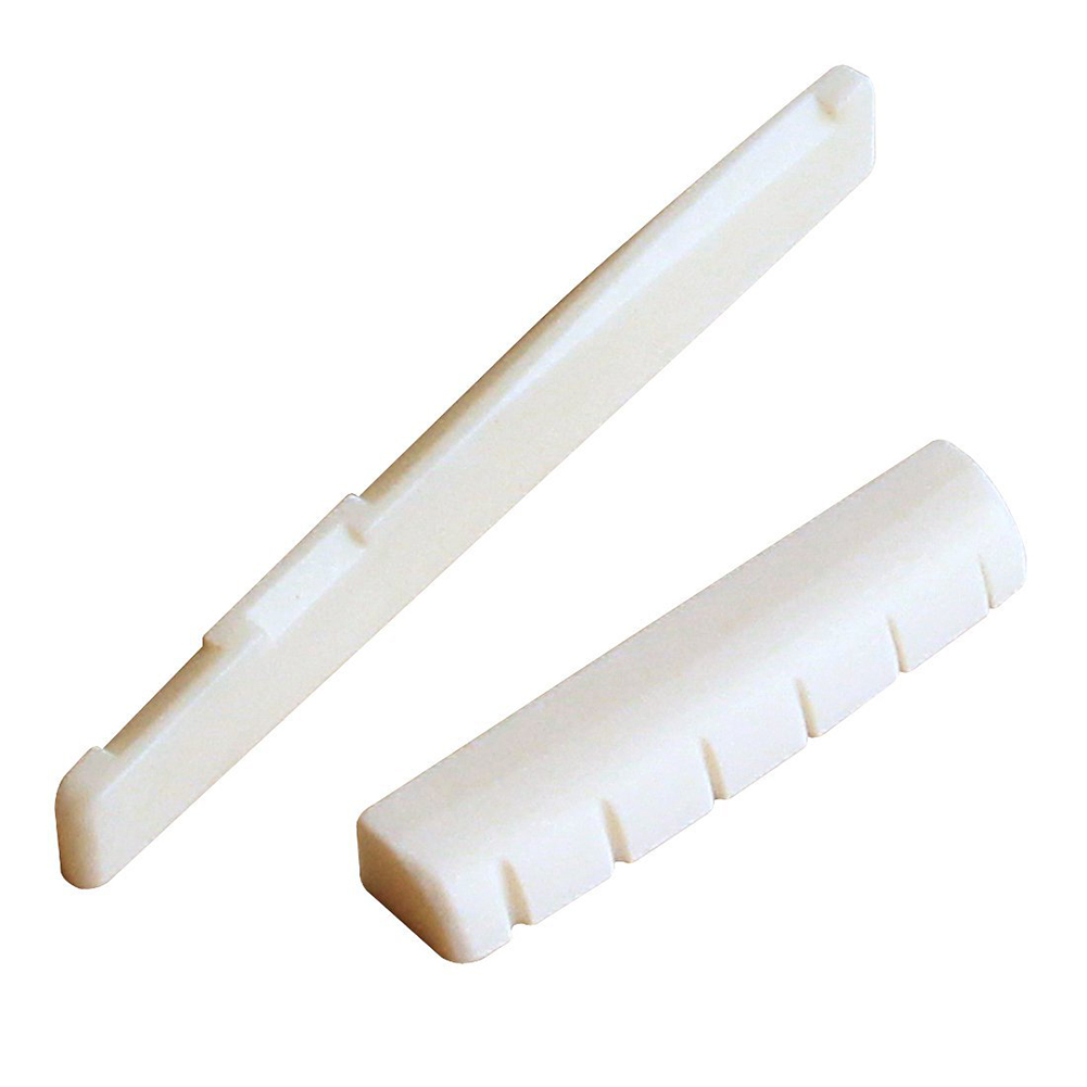5 PCS of (6 String Acoustic Guitar Bone Bridge Saddle and Nut and 6pcs Ebony Guitar Bridge Pins White+Black)<br>