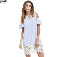 Women Blue Stripe Patchworked Lace Hem Cold Shoulder Mini Shift Dress 2017 Summer Hollow Out O Neck Casual Straight Dresses