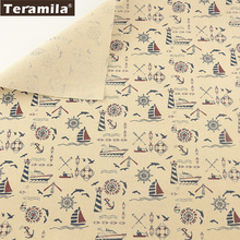 Sea Anchor TERAMILA Beige Cotton Linen Fabric Sewing Material Tissu Tablecloth Pillow Bag Curtain Cushion Pillow Home Textile