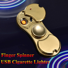 LED light Finger Spinner Metal USB Cigarette Lighter Multifunction Heating Wire Windproof Rechargeable Smoking Lighters Gift