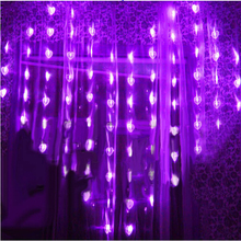 2M x1.6M LED Curtain Lights 124 LEDs Wedding Party Fairy String Lights 78 Heart Shaped Lights Home Hotel XMAS Holiday Decoration