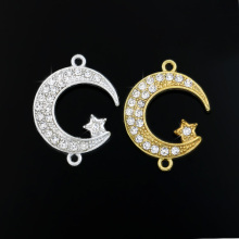 JAKONGO Silver Gold Color Crystal Moon Star Charm Connectors Pendants for Jewelry Making Bracelet DIY Handmade Craft 23x18mm