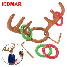 dmar inflatable children christmas elk antlers reindeer rudolph for kids head circle ring pool float snow water bath toys sports