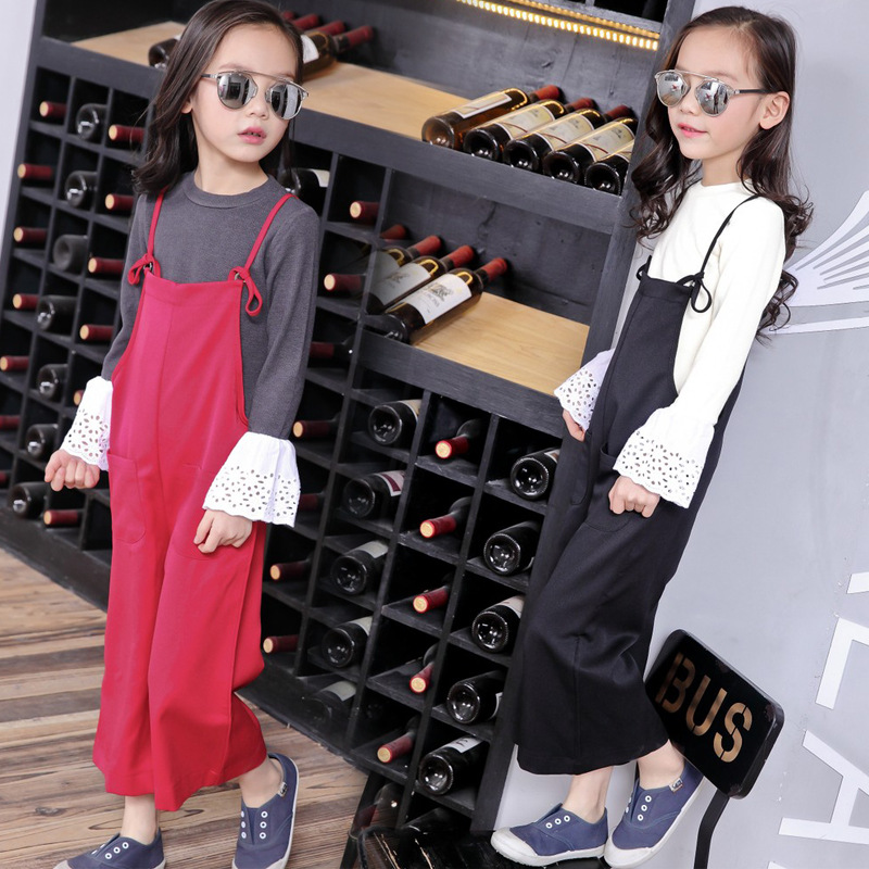 2017 Spring New Style Baby Girl Clothing Set Flare Sleeve Top + Loose Suspender Pants Kid Clothes Suit Children Fashion 2 pieces<br><br>Aliexpress
