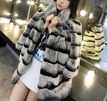 Best Real Chinchilla Fur Coat For Women Genuine Rex Rabbit Fur Coats Woman Natural Fur Plus Size Thick Warm Fur Overcoat(China)