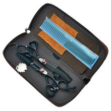 "6.0"" Flame Screw Black Hair Scissors Salon Cutting & Thinning Hair Shears Kit Hairdressing Set JP440C, LZS0168(China)"