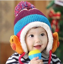 Winter Baby Toddler Boys Girls Winter Ear Flap Warm Hat Bebe Hat With Scarf Beanie Cap Monkey Kids Winter Cap Children Headwear(China)