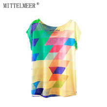 2017 Brand New Polyester T-Shirt Women Short Sleeve t-shirt o-neck Causal loose rainbow t shirt Summer tops for women(China)