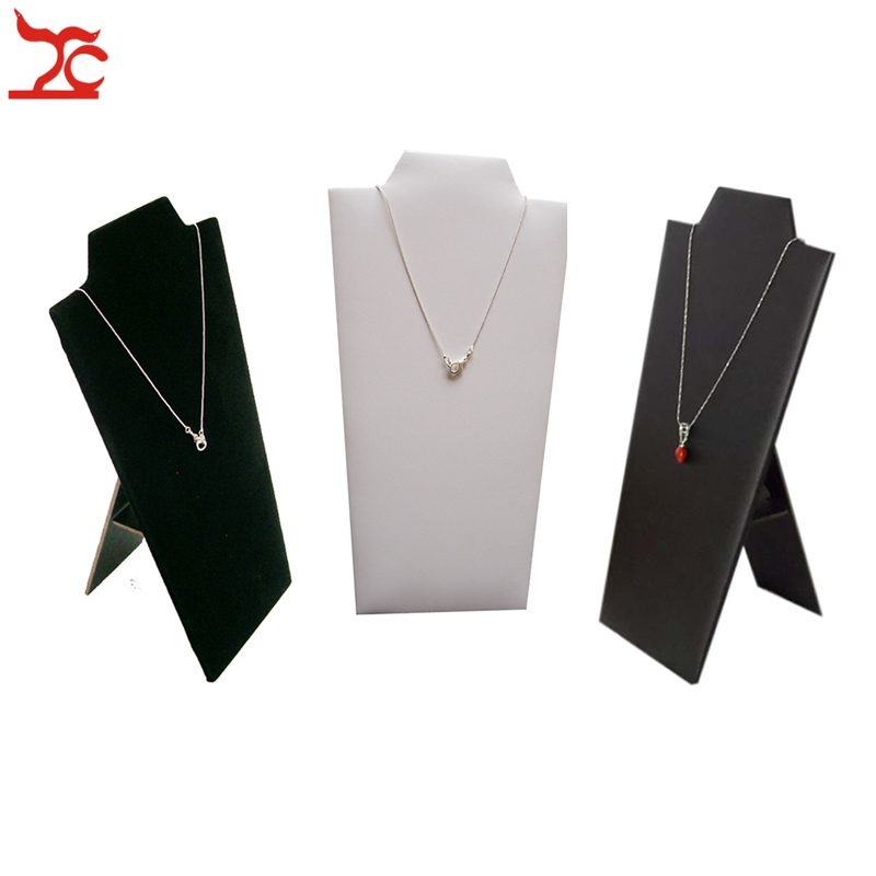 Retail Foldable White PU Necklace Rack Wooden Necklace Display Black Pendant Storage Organizer Showcase Easel Stand 12*22.5CM
