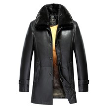2017 New Winter Thicken PU Leather Coat Men Long Section Casual Leather Coat Warm Jacket Imported Mink Fur Collar Coat