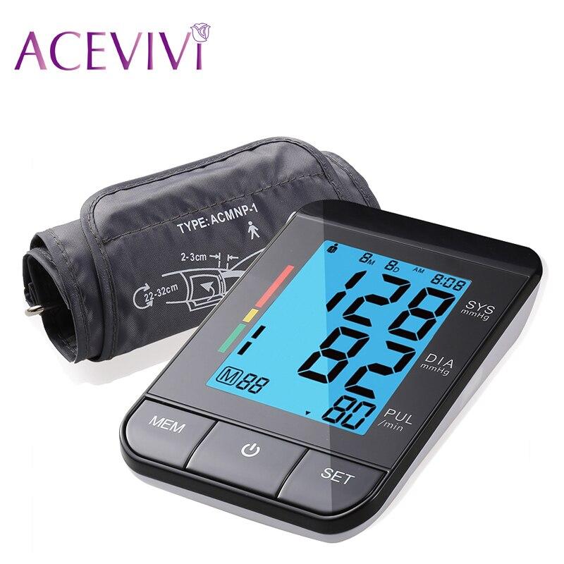 ACEVIVI Brand Blue Backlit Upper Arm Digital Portable Blood Pressure Health Care Monitor Black Sphygmomanometer Best Quality<br>