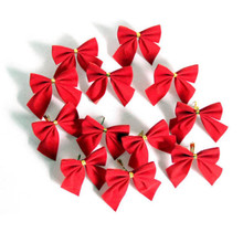 12pcs Bow Christmas Present Tree Decoration Bowknot Party Xmas Decor Festival Supplies Red Color 2017