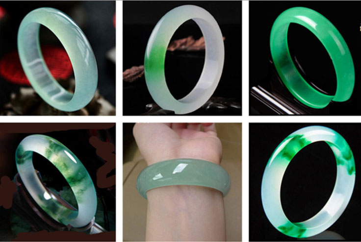58-60 mm Naturel Émeraude Vert jade Bracelet Jonc Jade Fait Main AAA
