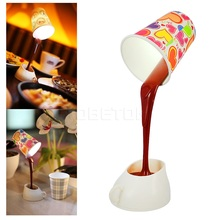 Night Light Creative DIY Coffee Cup LED Down Table Lamp Home USB Battery Pouring Coffee Lamp For Restaurant Bedroom Decoration