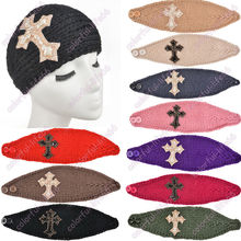 Newest Women Handmade Knitted Headband Bling Bead Sequins Cross Crochet Headwrap