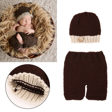 2pcs Baby Photo Props Newborn Baby Infants Crochet Handmade Knit Costume Hat Pants Photography Props #LD789