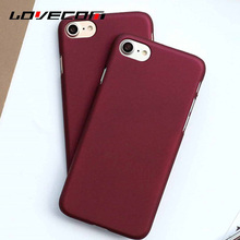 LOVECOM 6S 7 Plus Phone Case Fashion Red Wine Clor Scrub PC Hard Back Cover For iPhone 5 5S SE 6 6S Plus 7 7 Plus Coque YC2367
