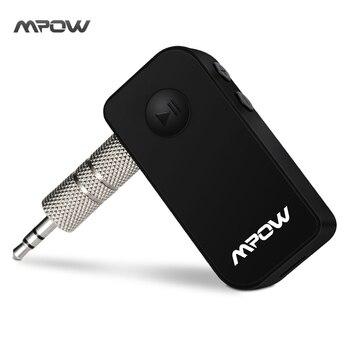 Mpow Mise À Jour Noir Portable 3.5mm Stéréo Sortie Bluetooth 3.0 Audio Musique En Streaming Récepteur Adaptateur avec Les Appels Mains Libres
