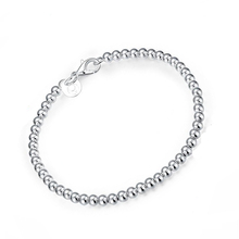 Casual Silver Plated Beaded Bracelet Chain & Link Bracelets selling Well Jewelry
