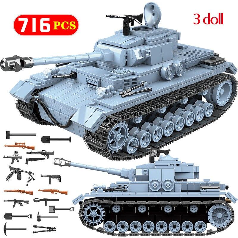 Military Main Tank w// Army Figures Set Compatible Building Bricks 121 pcs