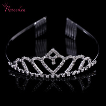 2016 new Luxury heart shaped Wedding Bridal Tiara Pageant Crowns Princess Queen Prom Rhinestone Veil Tiara Headband RE571