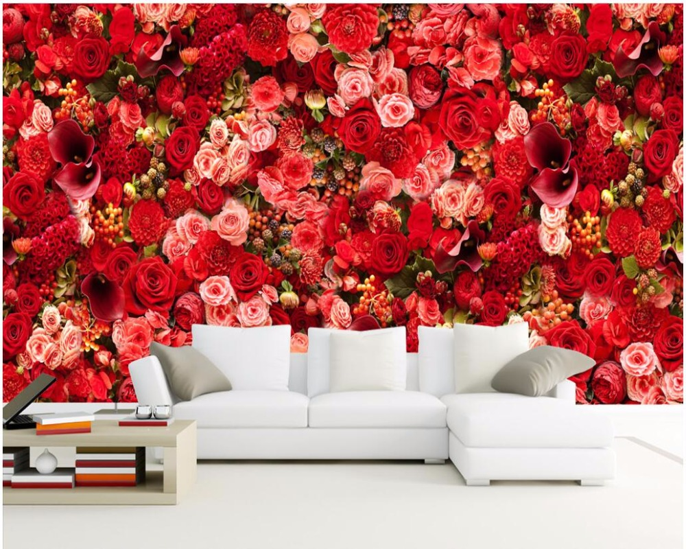 3d wallpaper custom photo mural Hd red rose bouquets of flowers decor painting 3d wall murals wallpaper for walls 3 d<br>